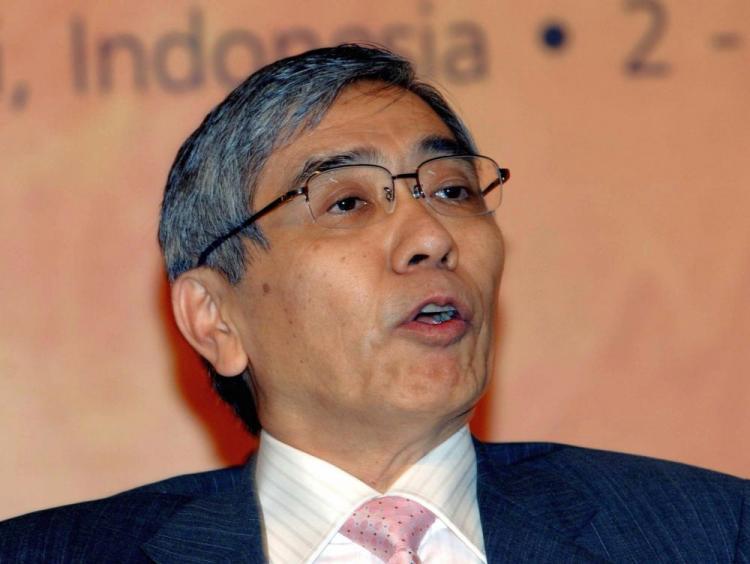 Asian Development Bank (ADB) president, Haruhiko Kuroda delivers speech during the 42nd ADB annual meeting. (Sonny Tumbelaka/AFP/Getty Images)