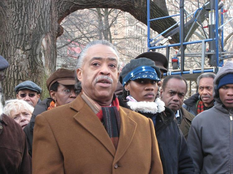 The Rev. Al Sharpton protests the possible removal of Councilman Charles Barron as Higher Education Committee chair.  (Stephanie Lam/The Epoch Times)