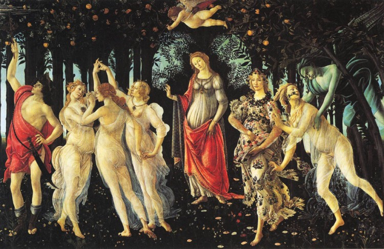 ORANGERY SCENE: The seasons of the year as a metaphor for life gave inspiration to many great art works in different times and cultures. 'Allegory of Spring,' oil on panel, 10 feet x 7 feet, Sandro Botticelli. (Artrenewal.org)