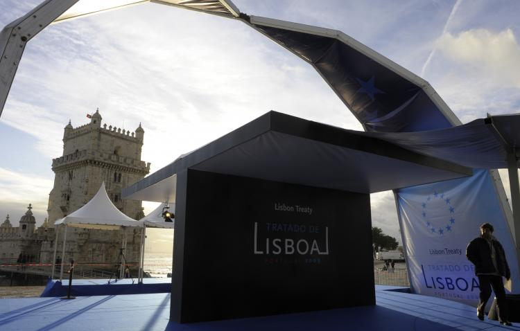View of the Belem Tower before a ceremony to mark the entry into force of the European Union's Lisbon Treaty, on Dec. 1, in Lisbon. (Miguel Riopa/AFP/Getty Images)