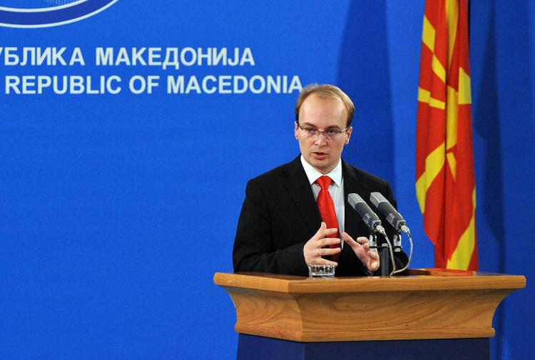 Macedonian Foreign Minister Antonio Milosevski speaks during a news conference on Nov. 17, 2008 in Skopje. Macedonia launched a complaint Monday before the International Court of Justice against Greece for breaching a UN-backed agreement in a name row ove (Robert Atanasovski/AFP/Getty Images)