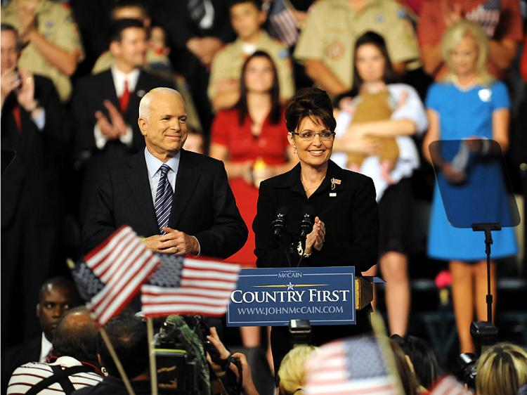 Presumptive Republican presidential nominee John McCain and Alaska Gov. Sarah Palin at a rally by presumptive Republican presidential nominee John McCain's at the Ervin J. Nutter Center August, 29, 2008, in Dayton, Ohio.   (J.D. Pooley/Getty Images)