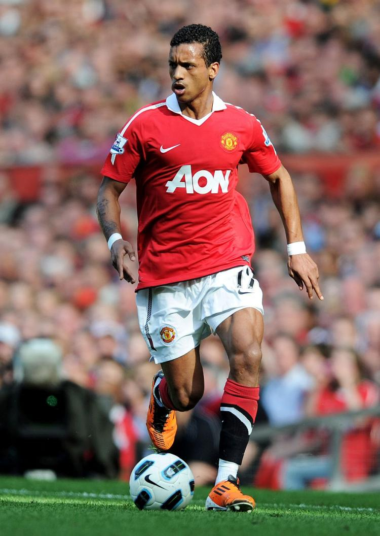 Nani of Manchester United in action during the Barclays Premier League match between Manchester United and Fulham at Old Trafford on April 9, 2011 in Manchester, England. (Michael Regan/Getty Images)