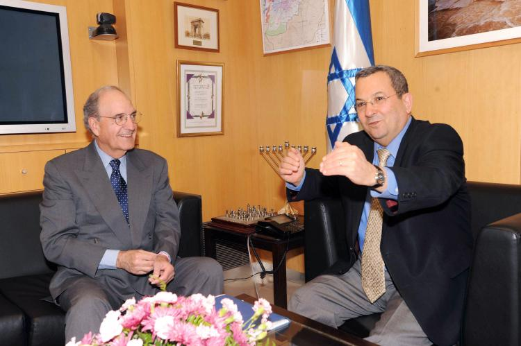 In this handout image from the U.S. Embassy Tel Aviv, Israeli Defense Minister Ehud Barak (R) receives U.S. Mideast envoy George Mitchell during their meeting on May, 6 in Tel Aviv, Israel. (Matty Stern/U.S. Embassy Tel Aviv via Getty Images )
