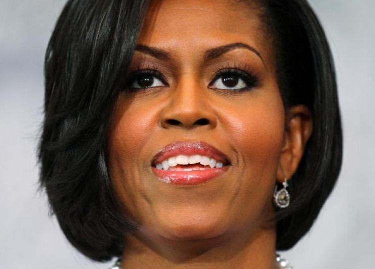 Michelle Obama, US First Lady, at a speaking engagement on July 7. Michelle Obama christened the new National Security Cutter, the Stratton, on July 24. (Alex Wong/Getty Images)