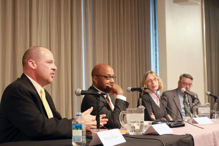 UFT President Michael Mulgrew (L) discussed the state of city schools and their future with a panel of journalists at The New School for Management and Urban Policy in New York City on Wednesday.  (Tara MacIsaac/The Epoch Times)
