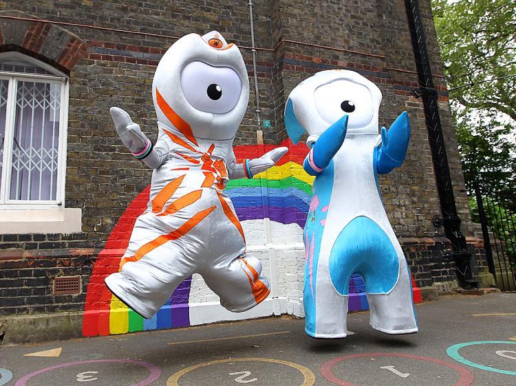 Olympic mascot Wenlock (L) and Paralympic mascot Mandeville pose for photographs after being unveiled at St. Paul's Whitechapel Church of England Primary School in London. (Julian Finney/Getty Images)