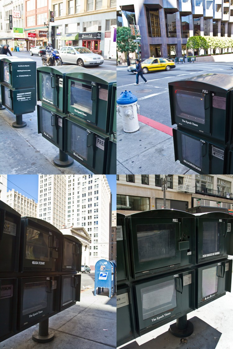 A montage of photos of four empty Epoch Times newspaper boxes in the Financial District in San Francisco, taken on Aug. 22. (Jan Jekielek/The Epoch Times)