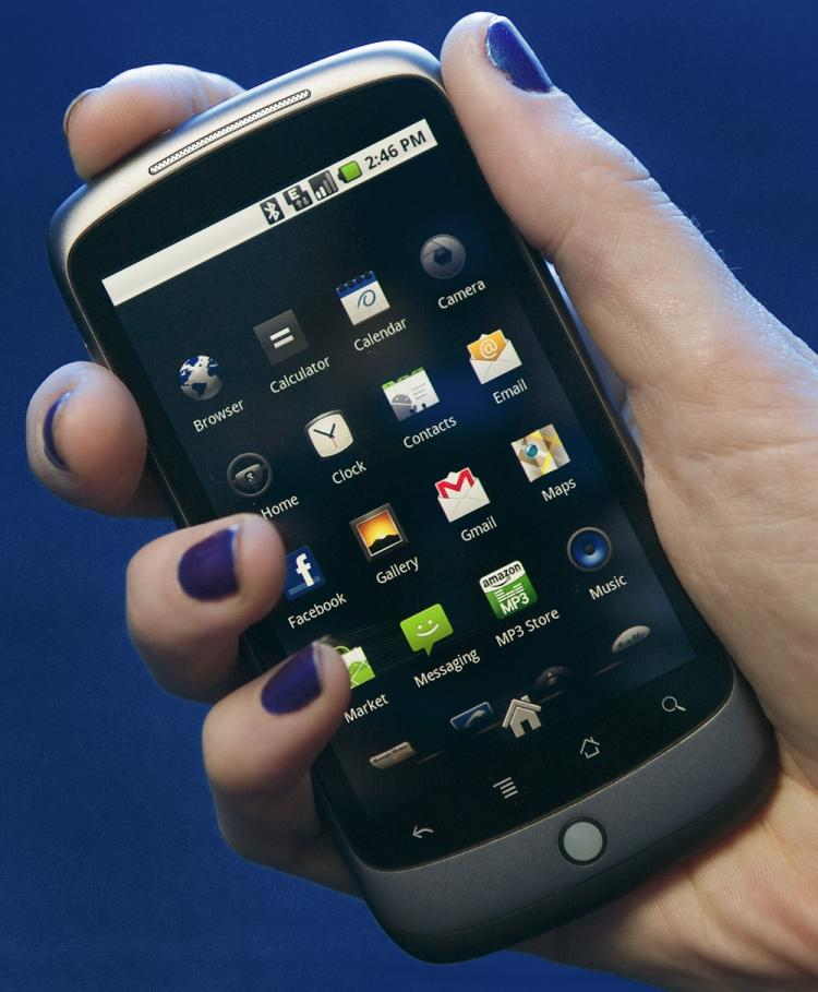 MORE AVAILABLE: The Google Nexus One smartphone is seen January 6 in Washington, D.C. The HTC-built device was originally web-only, but Google announced that it would start selling the phones through retail outlets. (Paul J. Richards/Getty Images )