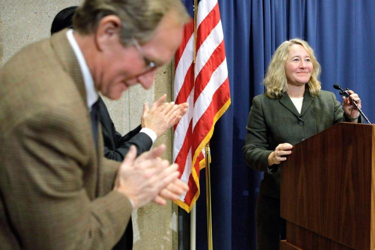 Professor Carol Greider talks at a news conference about winning the 2009 Nobel Prize in Physiology or Medicine on October 5. Greider shares the prize with fellow Americans Elizabeth Blackburn and Jacks Szostack.  (Chip Somodevilla/Getty Images)