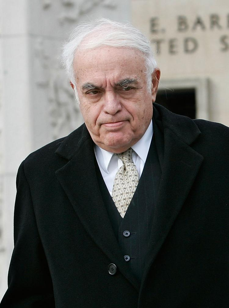 OUT: Columnist Robert Novak leaves a U.S. District Court after he testified for the I. Lewis 'Scooter' Libby trial on February 12, 2007 in Washington, DC. Novak retired yesterday a week after being diagnosed with a brain tumor. (Alex Wong/Getty Images)