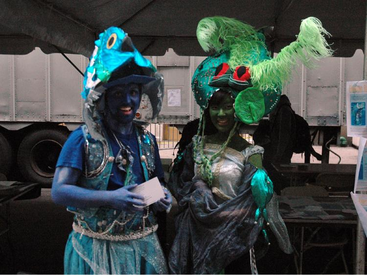 These two beauties were at the NYU Earth Day celebration promoting the upcoming Hudson River Pageant that will support artists, musicians, costume makers, poets, puppeteers, and dancers.  (Jonathan Weeks/Epoch Times)