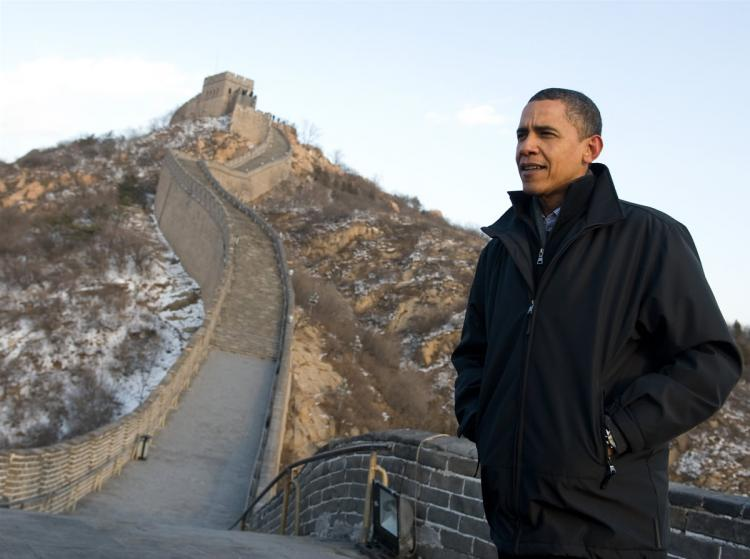 U.S. President Barack Obama tours the Great Wall on November 18, 2009 at Badaling, northwest of Beijing. (Saul Loeb/AFP/Getty Images)