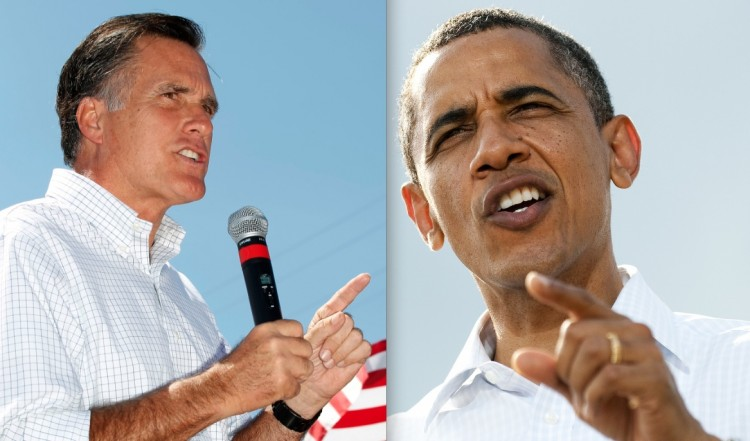 CLOSE IN POLLS: A recent Gallup poll shows GOP candidate Mitt Romney (L) with a slight lead over President Barack Obama in a recent poll. (George Frey & Jim Watson/Getty Images)