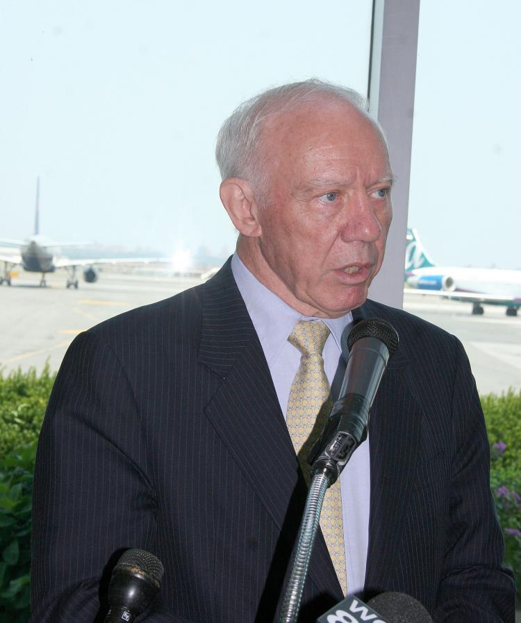 Congressman James Oberstar speaks at LaGuardia Airport on Monday. He was joined by Congressman Joseph Crowley (D-NY) to discuss possible improvements to the 60-year-old airport with funds from a new bill.