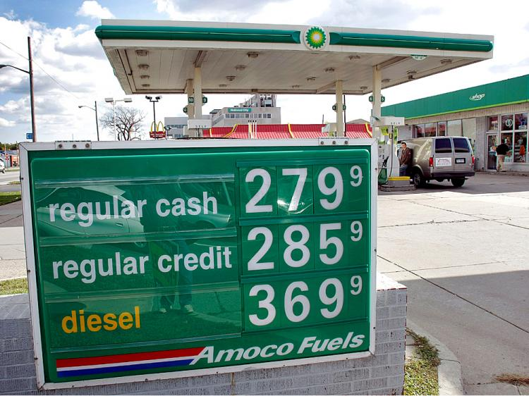The cash price for regular unleaded gas for $2.79 is displayed at a BP station October 17, 2008 in Royal Oak, Michigan.    (Bill Pugliano/Getty Images)