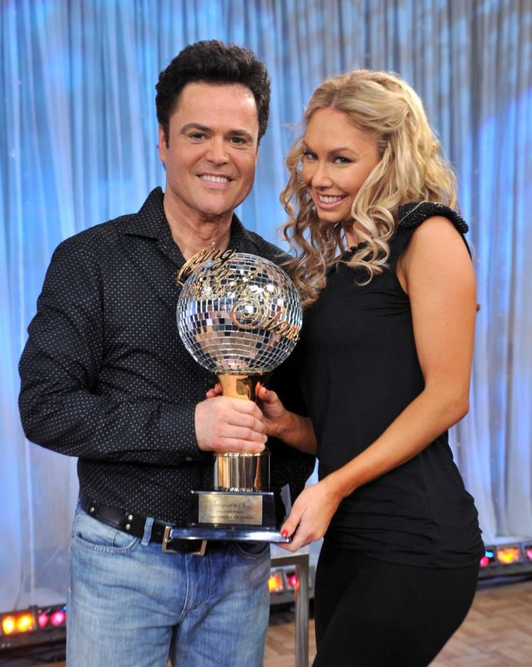 Entertainer Donny Osmond and Kym Johnson visit following their win on 'Dancing with the Stars.' (Henry S. Dziekan III/Getty Images)