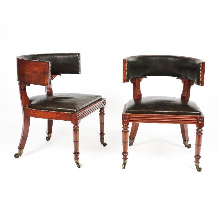 STYLISH CHAIRS: Offerings at the art and antiques show in New York range from fine art to carpets and furniture. This is a pair of regency library chairs from Ireland, circa 1810 from O'Sullivan Antiques. (Courtesy of Spring Show NYC)