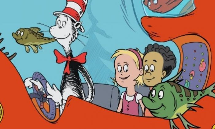 """Dr. Seuss: The Cat in the Hat (L) takes Nick (R) and Sally on a """"tiny"""" adventure. (PBS KIDS)"""