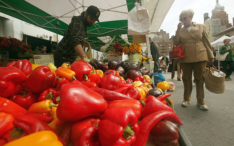 Peppers are seen for sale at the Union Square farmers market in New York City