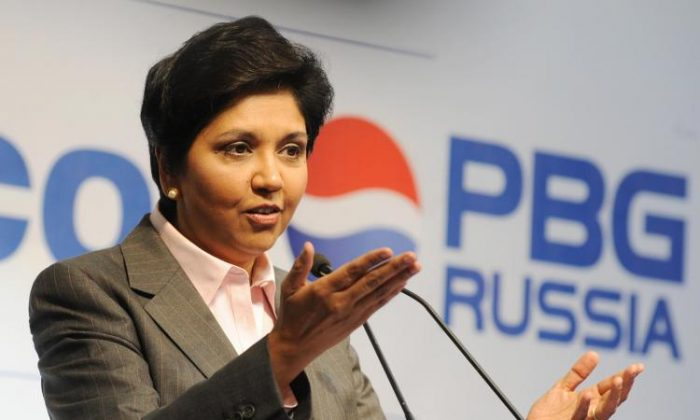 PepsiCo CEO Indra Nooyi speaks at the official opening of a PepsiCo Bottling Group plant in Domodedovo, Russia on July 8, 2009. (Natalia Kolesnikova/AFP/Getty Images )