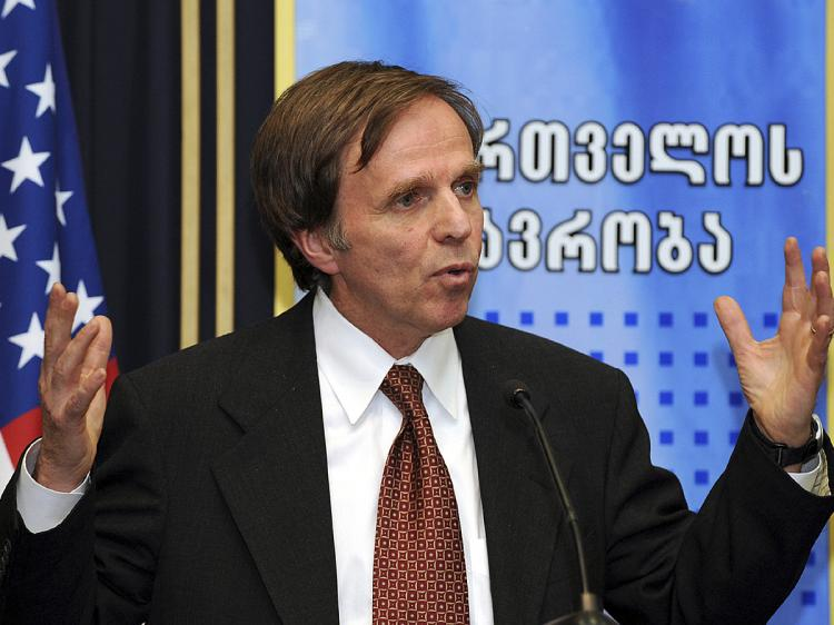 Assistant U.S. Secretary of State for Democracy, Human Rights, and Labour Michael Posner gestures while speaking at a press conference in Tbilisi on November 17, 2009. (Vano Shlamov/AFP/Getty Images)