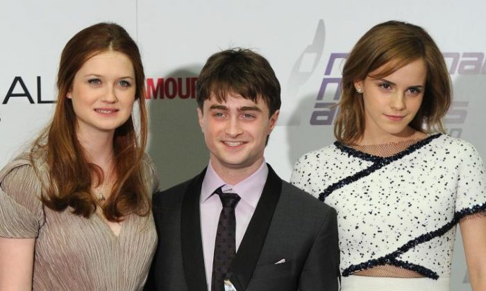 Harry Potter stars, (L to R) Actress Bonnie Wright, Actor Daniel Radcliffe, and Actress Emma Watson at the 2010 National Movie Awards on May 26, in London. The last chapter of the Harry Potter movies, 'Deadly Hallows,' has finished production marking the end of the 'Potter' films. (Gareth Cattermole/Getty Images)