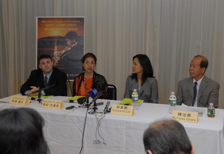 The judges panel at NTDTV's International Chinese Violin Competition hold a press conference following the first round of judging. (The Epoch Times)