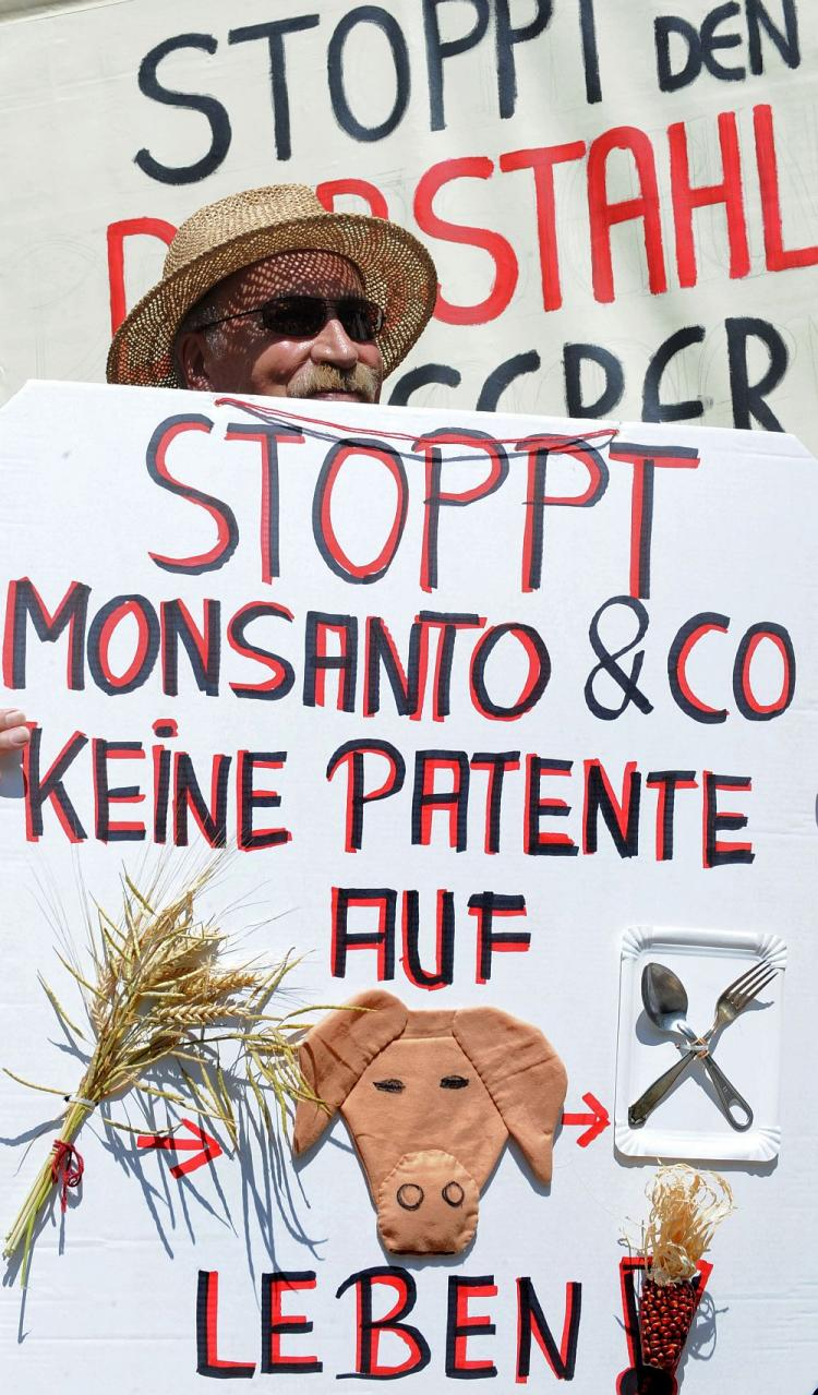 FIGHTING GMOs: A man protests with placards reading 'No patents on life, stop Monsanto' during a demonstration against food patents in Munich, Germany, on July 20, 2010. The Canadian National Research Council says it is not contemplating GMO wheat as part of its research on wheat improvements in Canada. (Christof Stache/AFP/Getty Images)