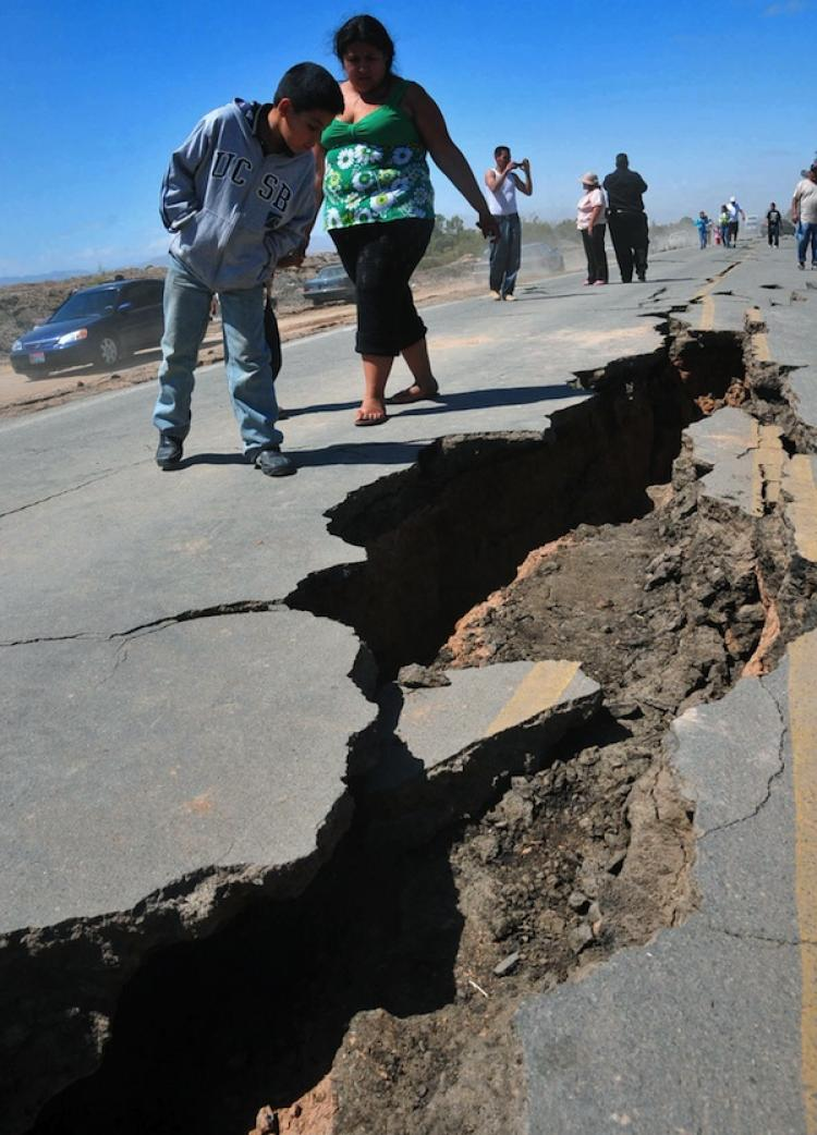 An earthquake that hit on April 6, in Baja California. A 5.4 magnitude earthquake hit southern California Wednesday July 7, 2010 at 4:53 p.m. local time. The epicenter of the earthquake was 30 miles south of Palm Springs.  (Ivan Cruz/AFP/Getty Images)