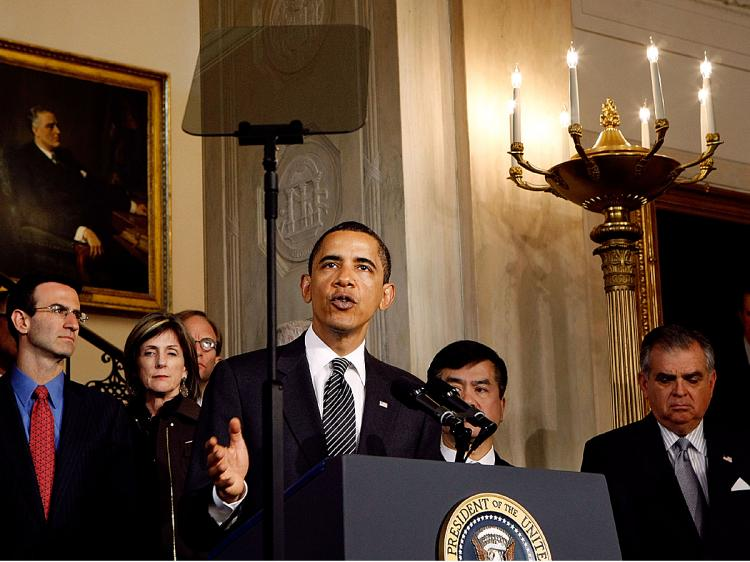 President Obama and members of his auto task force, including Office of Management and Budget Director Peter Orszag (L), Commerce Secretary Gary Locke (2nd-R) and U.S. Transportation Secretary Ray LaHood (R) address the bankruptcy of Chrysler.   (Chip Somodevilla/Getty Images)