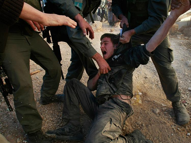 Israeli police struggle to restrain a right-wing Jewish settler as they evacuate Israeli extremists from a disputed house in the West Bank city of Hebron, December 4, 2008.    (David Silverman/Getty Images)