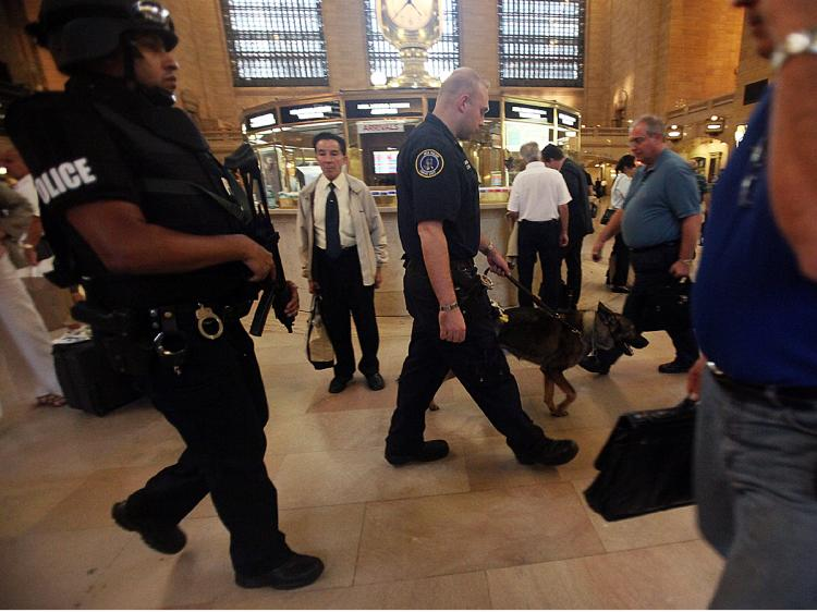 Metropolitan Transit Authority (M.T.A.) police officers patrol in Grand Central Terminal September in New York City to deter possible terrorist attacks. (Mario Tama/Getty Images)