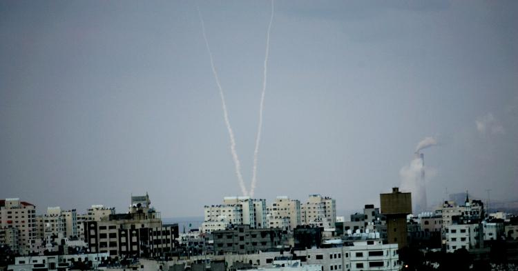 Palestinian missiles being launched from northern Gaza towards an Israeli town on Dec. 30, 2008. Rockets fired by the Hamas are reportedly contraband from mainland China. (Abid Katib/Getty Images)