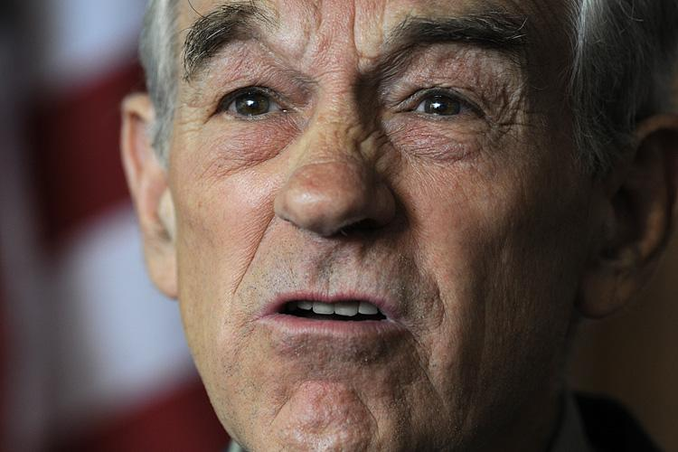 Republican Texas Rep. Ron Paul announces to supporters that he's forming a campaign exploratory committee, as he decides whether or not to seek the Republican nomination for president, on April 26 in Des Moines, Iowa. (Steve Pope/Getty Images)
