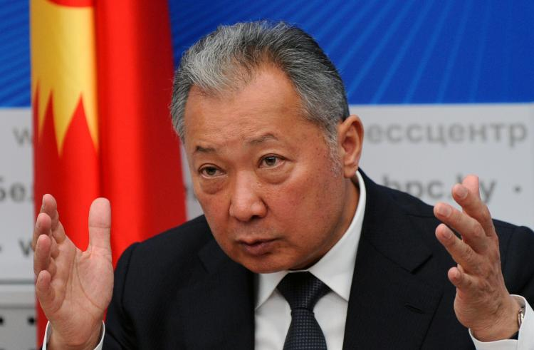 Ousted president of Kyrgyzstan Kurmanbek Bakiyev at his press conference in Minsk on April 23. Bakiyev, who has taken refuge in Belarus, admitted that he would not be able to return to his country as head of state.