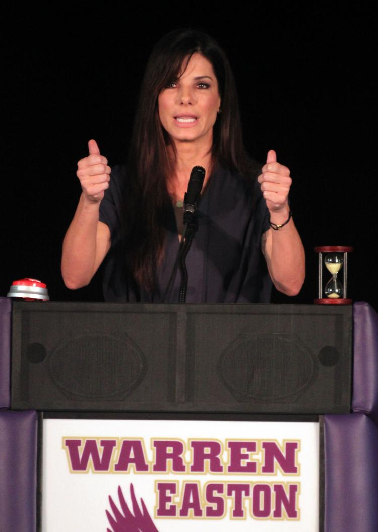 Sandra Bullock, who recently adopted a son from New Orleans, spoke highly of him on the 'Today' show set to air on Tuesday. Pictured above, she addresses attendees at the Warren Easton Charter High School Health Clinic ribbon cutting ceremony at the Warren Easton Charter High School on August 29, 2010 in New Orleans.  (James Crump/Getty Images)