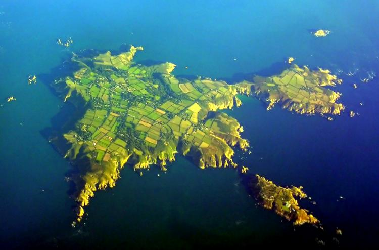 An aerial shot of Sark, one of the Channel Islands. (Wikimedia Commons)