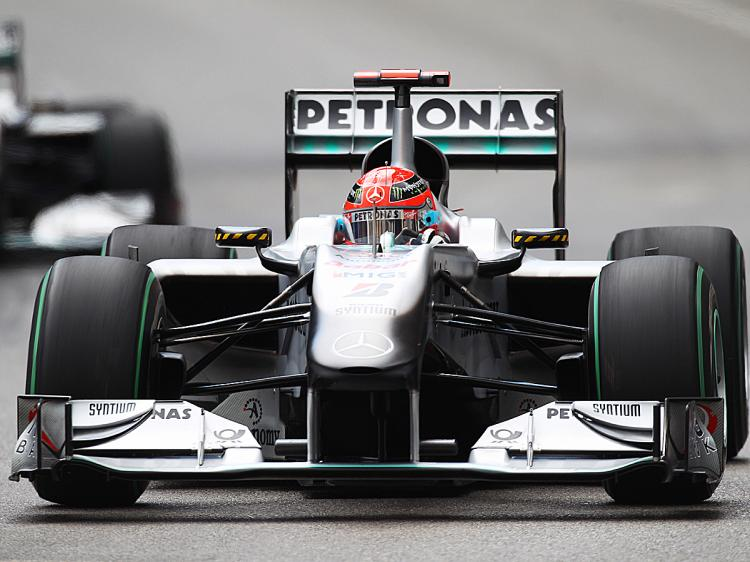 Michael Schumacher of Germany and Mercedes GP drives during the Monaco Formula One Grand Prix. (Mark Thompson/Getty Images)