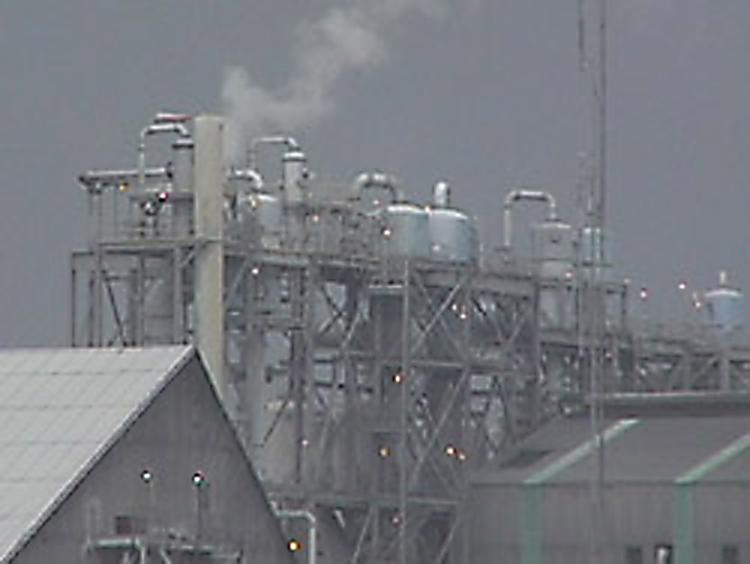 Scrubbers on the stacks of this fertilizer plant filter out the fluoride that would otherwise poison the environment.  (Michael and Paul Connett)