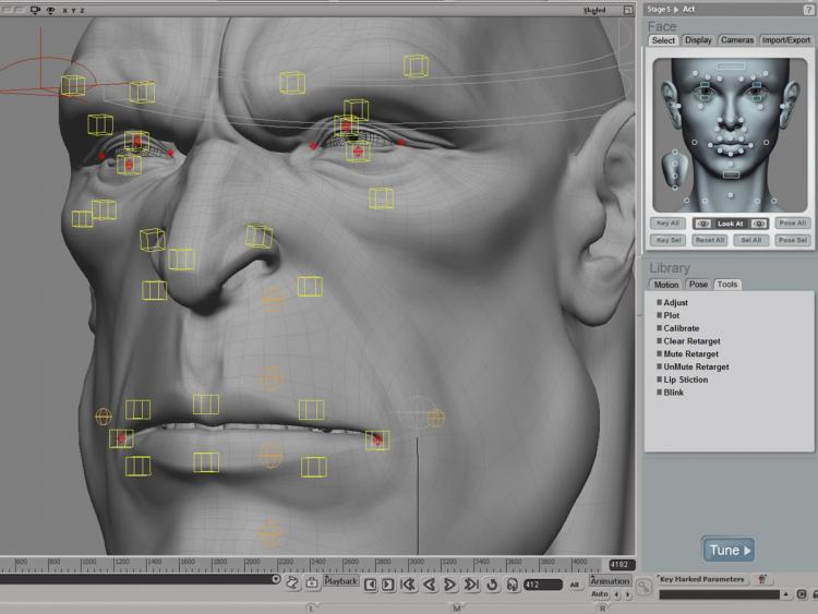 A professional solution for rigging and animating large numbers of 3-D faces quickly and easily. Face Robot enables games and visual effects studios to create life-like facial animation at incredible speeds. Using Face Robot, animators are free to concentrate on emotion, expression and delivering unforgettable performances. An Autodesk Maya software exporter allows you to bring a fully solved Face Robot head into Maya for more integrated computer graphics (CG) character workflows.(Courtesy of Autodesk)