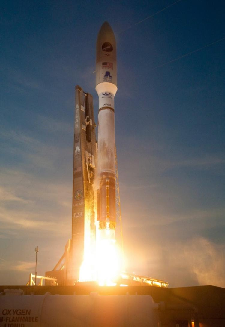 OFF TO THE SPACE: A United Launch Alliance Atlas V rocket with the X-37B Orbital Test Vehicle launches April 22, 2010, from Cape Canaveral, FL. (Courtesy of the U.S. Air Force)