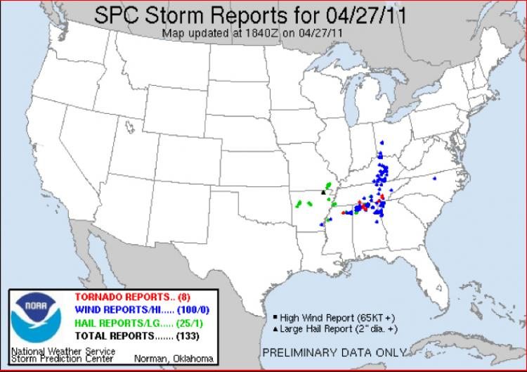 A Storm Prediction Center map showing reports of tornadoes (red), wind (blue), and hail (green) on Wednesday afternoon. (NOAA)