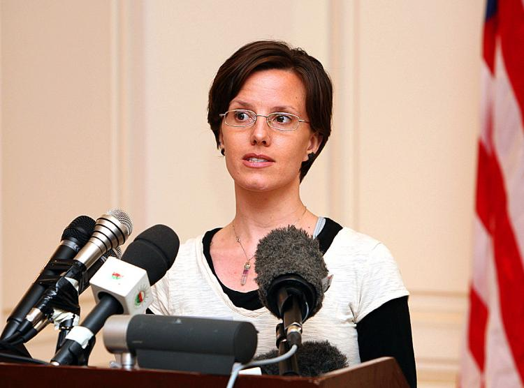 American hiker Sarah Shourd, who was released on bail from an Iranian prison on September 14, speaks to the press on September 18, 2010 in Muscat, prior to her departure home to the USA. (Mohammed Mahjoub/AFP/Getty Images)