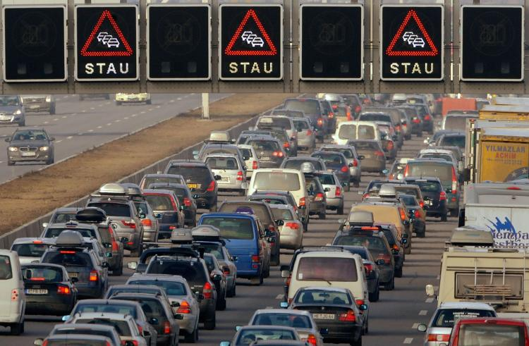 Cars stuck in a traffic jam on January 3, 2009, on the A9 highway in Neufahrn near Munich, southern Germany. (Joerg Koch/AFP/Getty Images )
