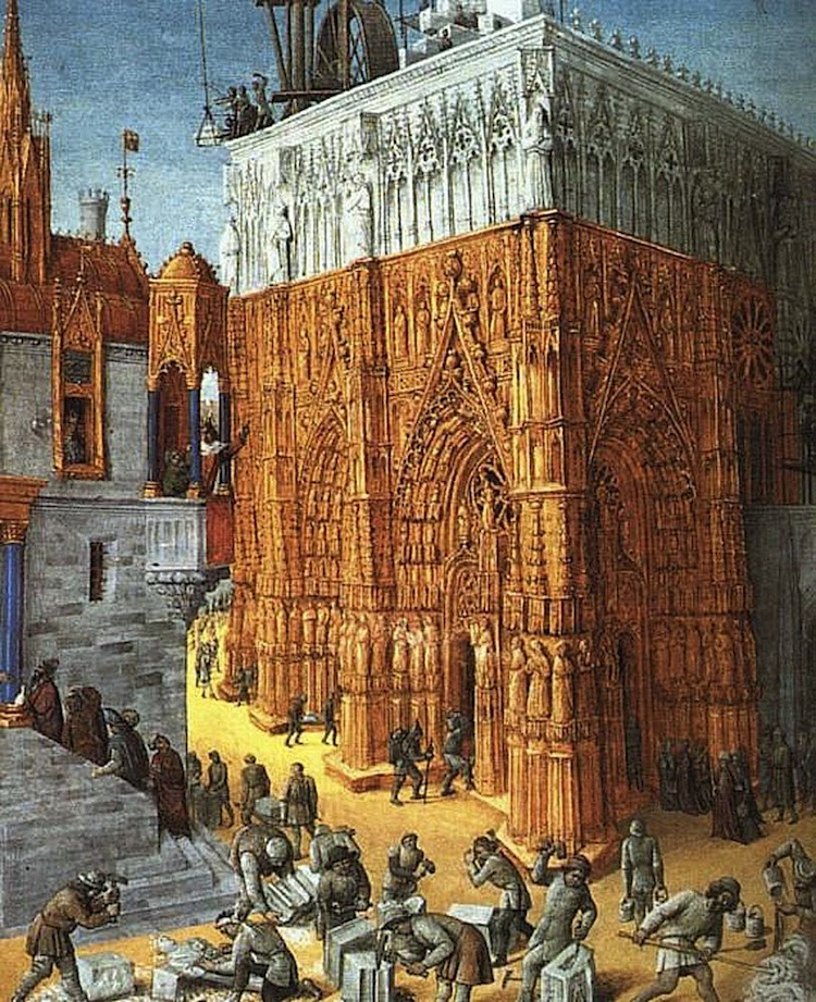 Preserved illustrations currently on display at the Louvre, France, give insight into the life of the late Middle Ages and the early Renaissance. 'The Building of a Cathedral,' by Jean Fouquet (ca. 1420, ca. 1481). Illumination on parchment, 15 x 11 in., ca. 1465. National Library of France. (Artrenewal.org)