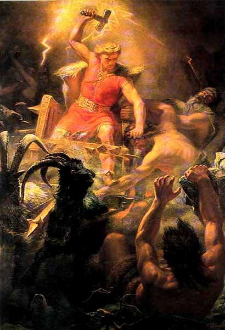 The Norse god Thor, the god of lightning, is depicted in this 1872 painting by Mårten Eskil Winge in a battle against the giants. (Image courtesy of Wilson's Almanac)