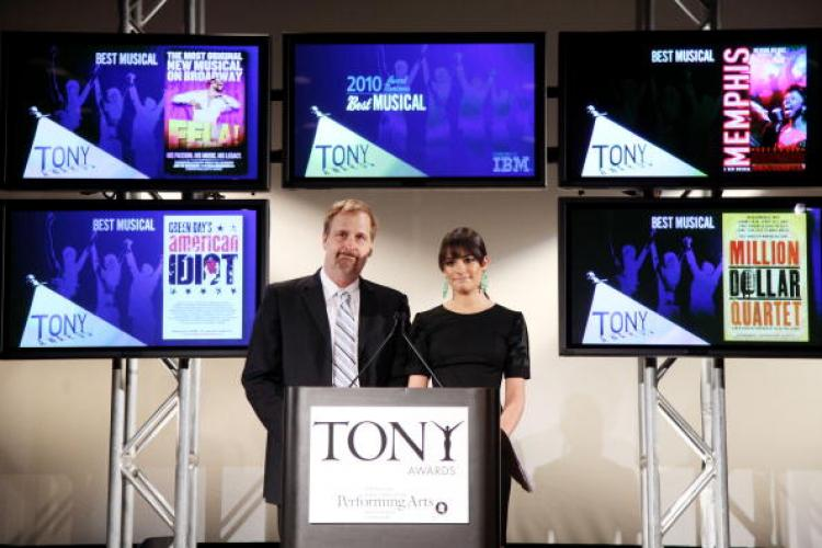 The 64th Annual Tony Award nominations are announced by Jeff Daniels (L) and Lea Michele at The New York Public Library for Performing Arts on May 4, 2010 in New York City. (Will Ragozzino/Getty Images)