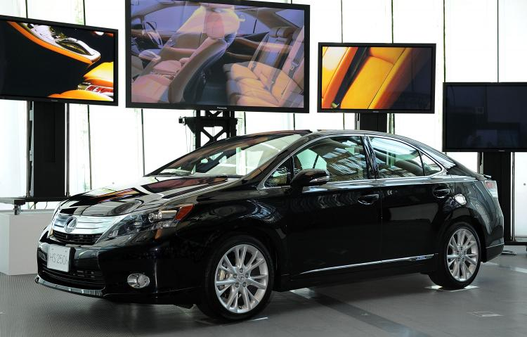 The new Lexus 'HS250h' displayed in Japan. Toyota issued a recall for 3.8 million cars for September 2009, several of them Lexus models, after finding a critical floor mat problem. (Akihiro I/Getty Images)