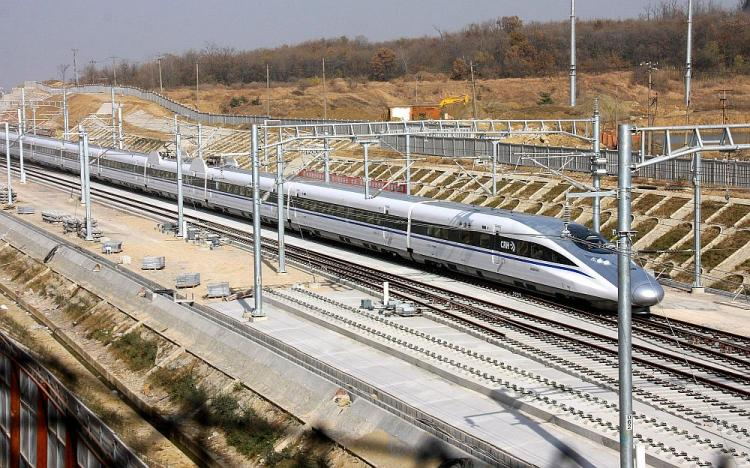 A Chinese hi-speed train on a stretch of track between the capital Beijing and Shanghai. (STR/AFP/Getty Images)